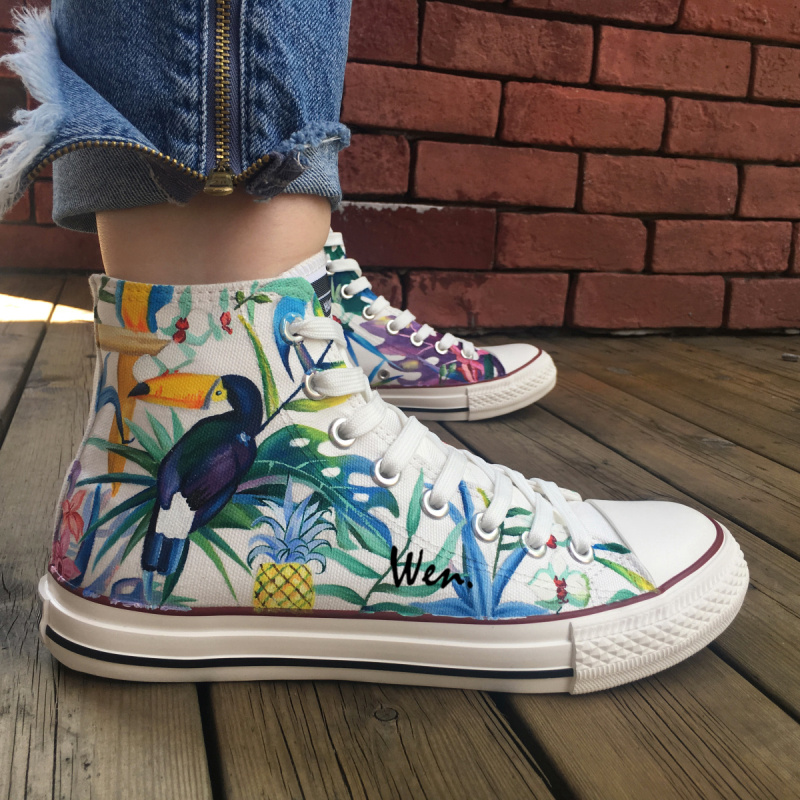 Wen Original Hand Painted Shoes Design Custom Selva Toucan Bird High Top Canvas Sneakers for Men Women's Christmas Gifts wen mexican style skulls totem original design hand painted shoes for men woman slip ons custom canvas sneakers