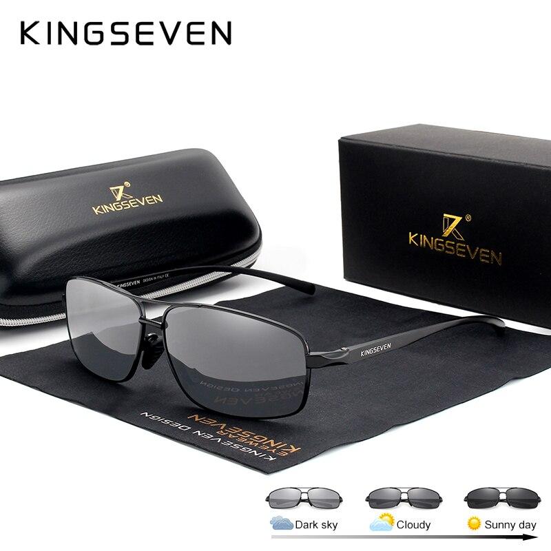 KINGSEVEN Neue Photochrome Sonnenbrille Männer Polarisierte Chameleon Gläser Männlichen Sonnenbrille Tag Nacht Vision Fahren Brillen N7088