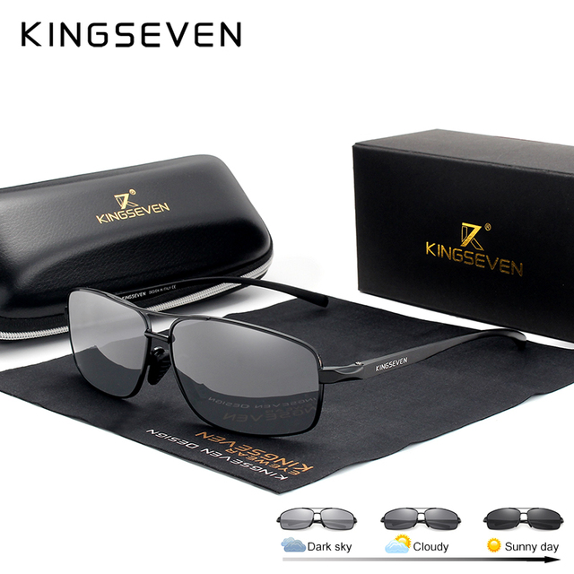 KINGSEVEN Photochromic Sunglasses Men Polarized Chameleon Glasses Male Sun Glasses Day Night Vision Driving Eyewear N7088