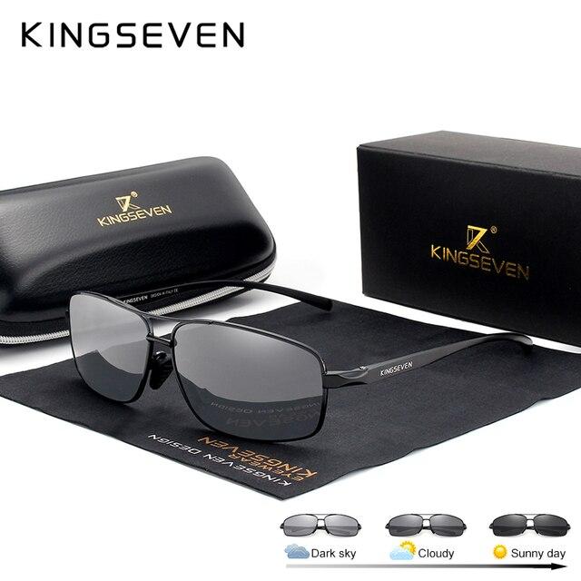 KINGSEVEN Nieuwe Meekleurende Zonnebril Mannen Gepolariseerde Kameleon Glazen Mannelijke Zonnebril Dag Nachtzicht Rijden Eyewear N7088