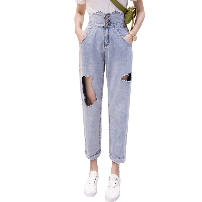 Super High Waist Wide Leg   Jeans   For Women Big Hole Ripped Boyfriend   Jeans   Push Up Denim Pants Loose Buttons Destroyed   Jeans
