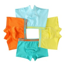 4pcs/lot Quality Pure Color Cotton Kids Underpants Boys Brand Boxer Panties for Short Briefs Underwear Clothing