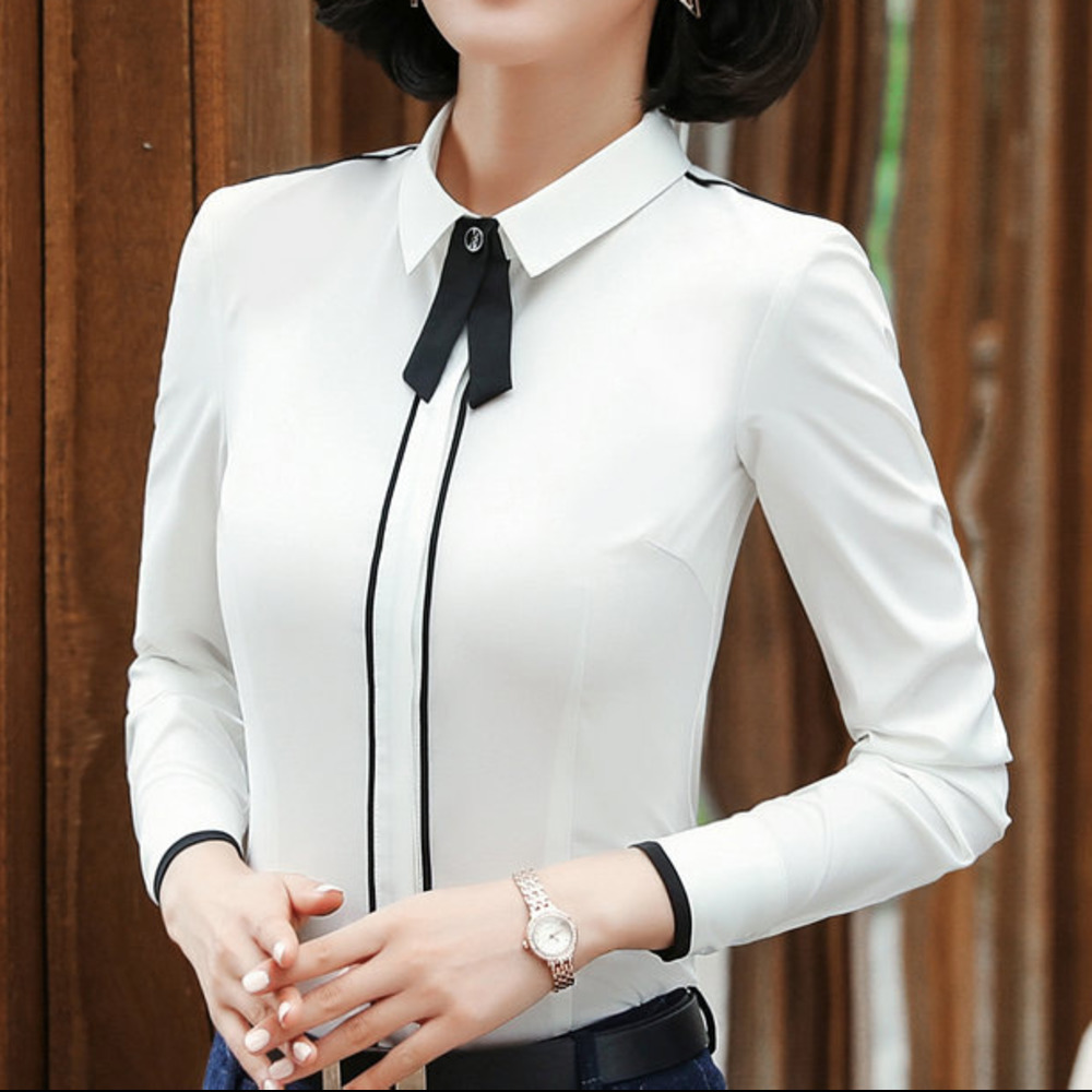 2018 Fashion White Shirt Women Work Wear Long Sleeve Female Office Blouse Tops Slim Women Formal Blouses Shirts Cheap Blusas
