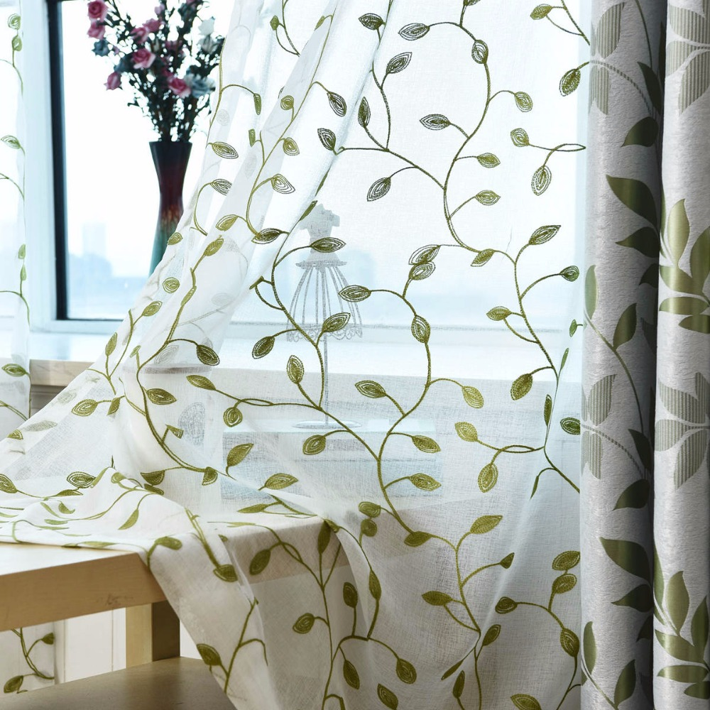 Jacquard American Style Livingroom Green Curtain Shade Cloth Bedroom ...