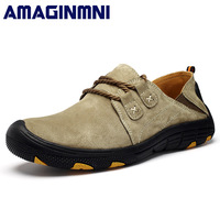 AMAGINMNI Comfort Casual Shoes Men Flats Quality Suede Men Loafers Shoes Genuine Leather Shoes Masculino Autumn