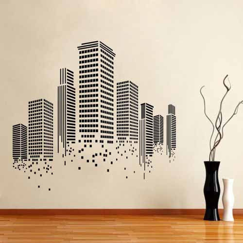Buildings City Skyline Wall Stickers Vinyl Decal Home Decor Mural Art Paper Decoration