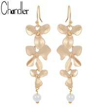 Vintage Korean Orchid Flower Faux Pearl Drop Earring Long Dangling Fashion Infinity Jewelry Elegent Gift For Girls Women Ladies(China)