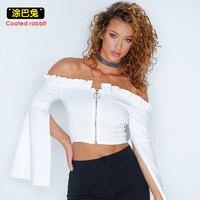 Coated Rabbit Chiffon Blouse Women 2018 Sexy Cold Shoulder Ruffle Crop White Shirt Batwing Sleeve Zipper