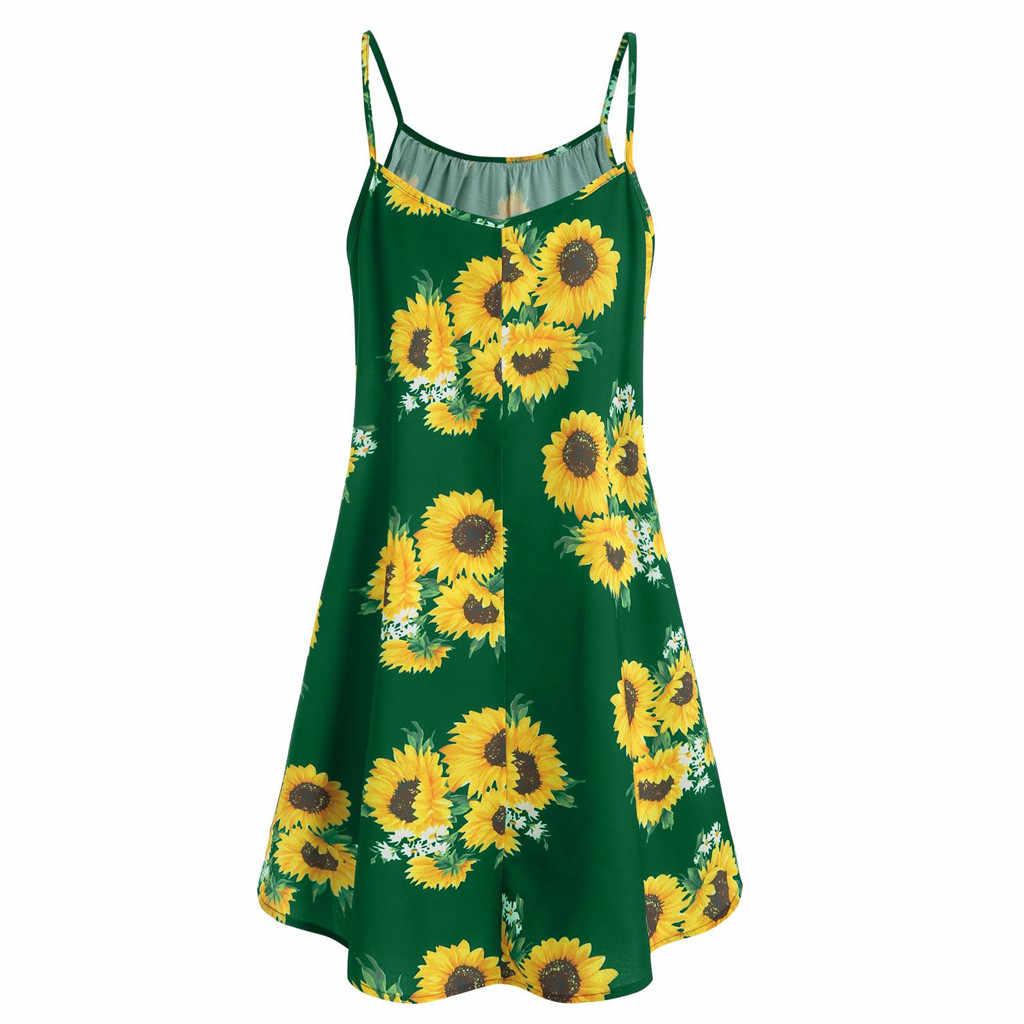 Сексуальное платье с подсолнухами с открытыми плечами женское мини-платье без рукавов с круглым вырезом и бретельками 2018 осеннее пляжное короткое платье femme # Y