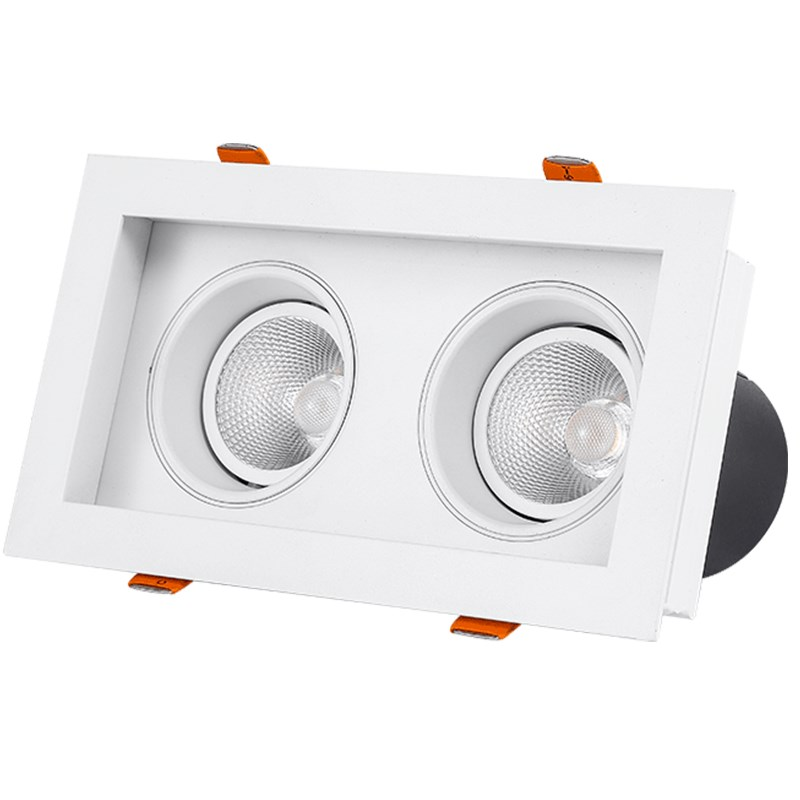 SCON led 14 W/24 W Double tête intégrés facilité maintenace Grille lampe center commercial hôtel plafond COB Downlight Ra> 93 4000 k naturel éclairage