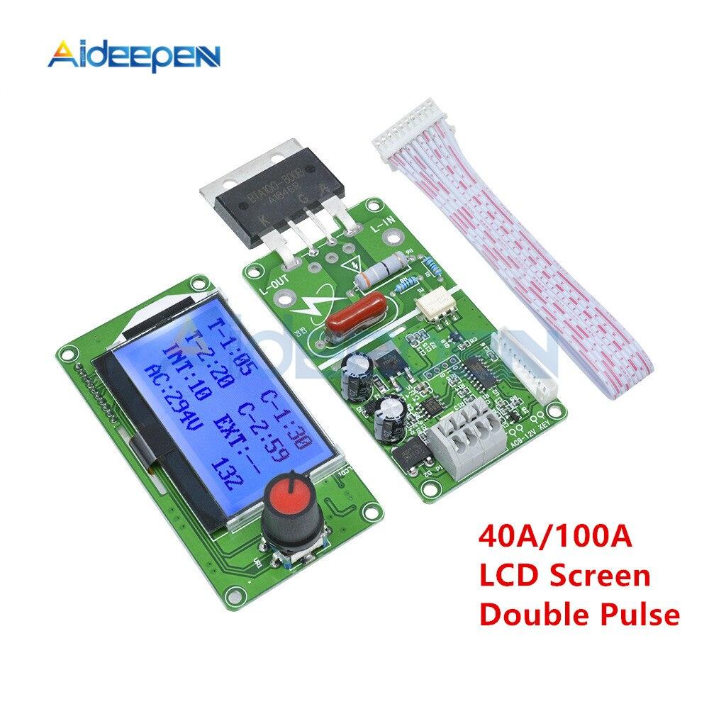40A 100A LCD Display Digital Double Pulse Encoder Spot Welder Welding Transformer Controller Board Electric Spot Welding