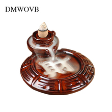 Free Gift 35Pcs Incense Cones Backflow Burner Ceramic Aromatherapy Furnace Smell Aromatic Home Office Road