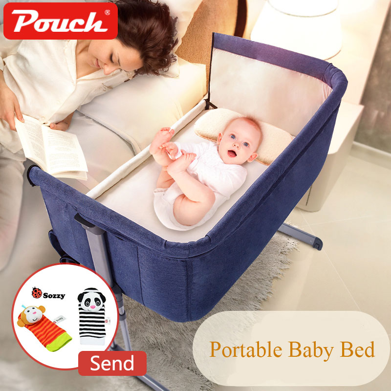 Blue 0-9 Months Baby Bed Foldable Portable Cot Breathable Bed Travel Cradle Newborn Bed With Parents' Normal Big Bed Free Gift