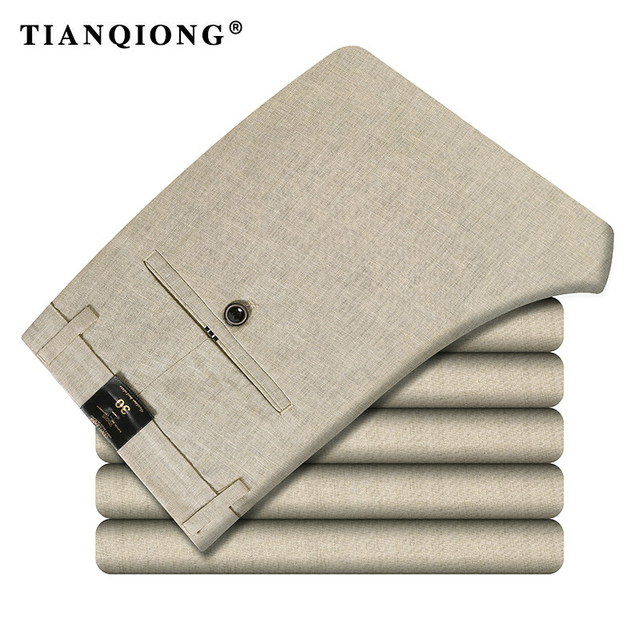 TIAN QIONG New Arrival Classic Business Casual Pants Men Dress Brand Clothing Mens Formal Male for Trousers Straight Full Length