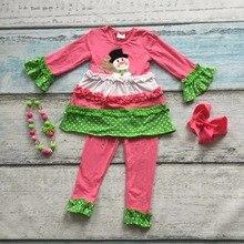 Bonhomme de neige Automne/Hiver tenues bébé écharpe chaude rose dot top ruches ensembles vêtements coton filles boutique avec accessoires assortis