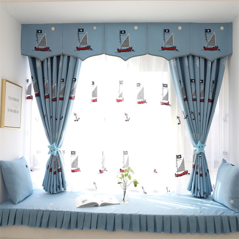 US $7.54 35% OFF|Children\'s Cartoon Luxury Blackout Curtains Blue  Embroidery Blinds For Living Room Bedroom Children\'s Room Tulle 025&3-in  Curtains ...