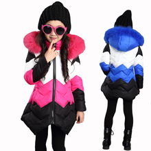 2017 Children Thick Cotton Hooded Jacket Girls Princess Patchwork Jacket Fur Collar Cotton-padded Clothes Teenagers Girl Jacket