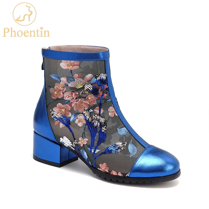 Phoentin Embroidery shoes floral womens lace mesh boots genuine leather blue summer boots laies with zip