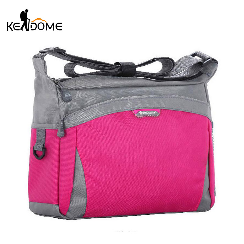 Outdoor Sport Bag Shoulder Crossbody Bags Women Hike Bag Walking Waterproof Nylon Handbag Tourist Mountaineering Bag Pink XA87WD