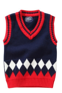 f8625258957a Boys girls clothes autumn winter sweater vest children 100% cotton V ...