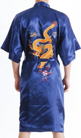 Blue Spring Chinese Men's Silk Satin Embroidery Robe Hombres Pijama NowKimono Bath Gown Dragon Size S M L XL XXL XXXL S0103-D