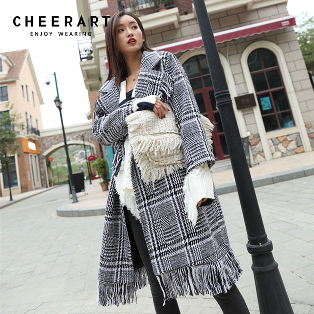 eb5dba5b40f Cheerart Buffalo Plaid Wool Coat Women Houndstooth Long Plus Size Winter  Overcoat Fringe Tweed Lapel Coat