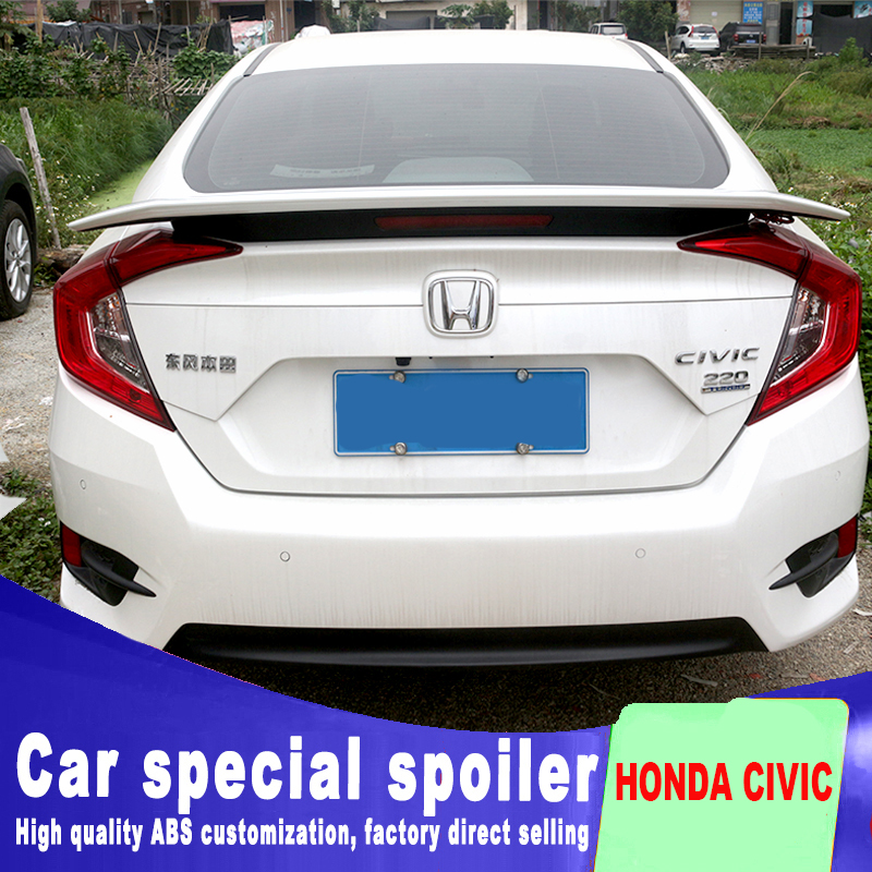 brake red light high quality spoilers for 2016 to 2018 honda civic ABS material spoiler DIY paint by air Acceleration stabilitybrake red light high quality spoilers for 2016 to 2018 honda civic ABS material spoiler DIY paint by air Acceleration stability