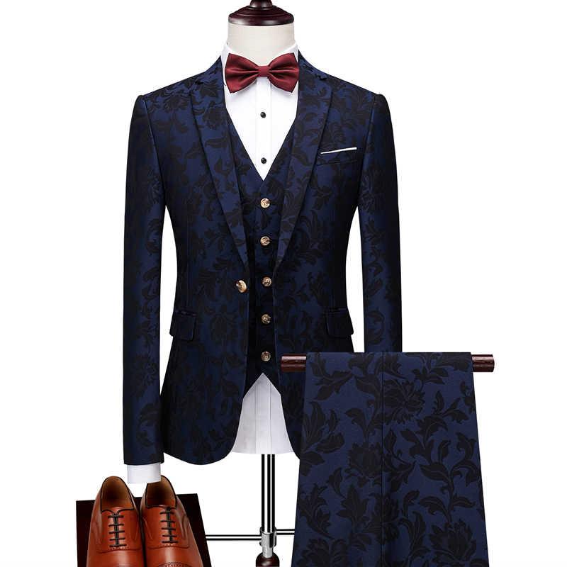 Plyesxale 男性 3 ピーススーツ花 Terno Masculino スリムフィットメンズスーツデザイナー 2018 ブルーブルゴーニュ結婚式のスーツを着用してください q172