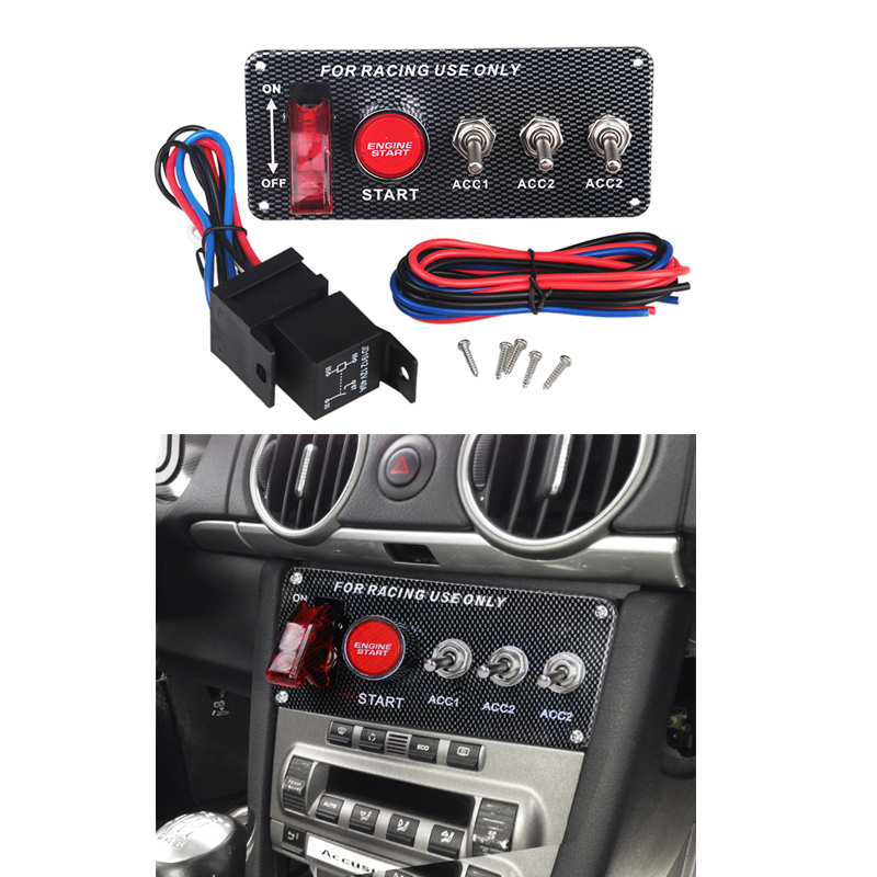 12V Car Auto Toggle Switches Ignition Panel Engine Start Push Button Carbon Fiber Switch 3 Toggle Panel with Indicator Light freywille цепочка омега