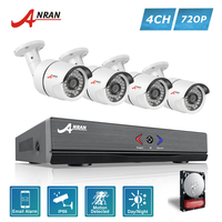ANRAN 4CH 1080N AHD DVR 4pcs 1800TVL 720P 36IR Waterproof CCTV Video Security Camera Home Surveillance