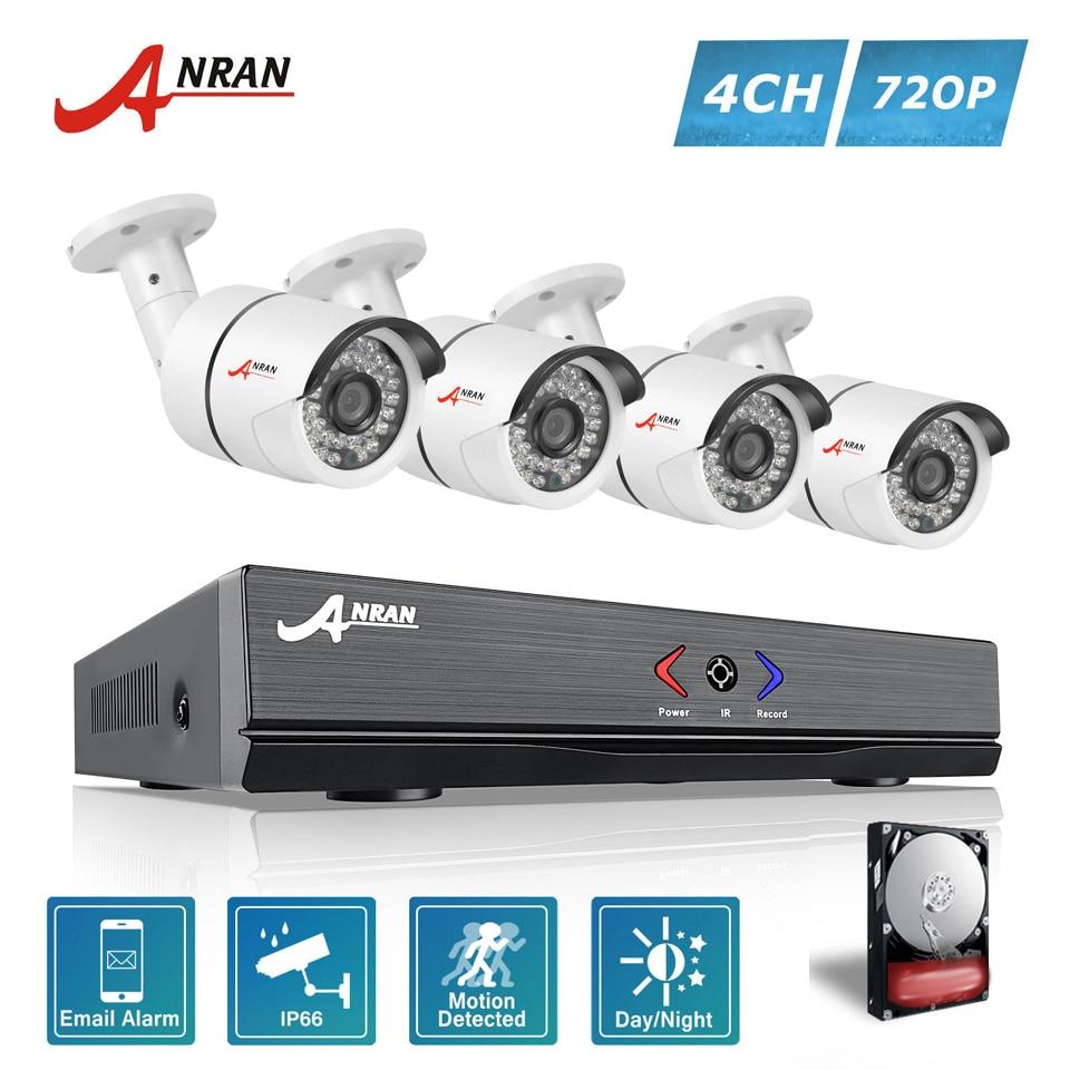 ANRAN 4CH 1080N AHD DVR 4pcs 1800TVL 720P 36IR Waterproof CCTV Video Security Camera Home Surveillance System With 500GB HDD