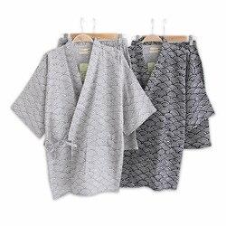 بسيطة موجة 100% القطن قصيرة البيجامة الرجال قصيرة الأكمام ملابس خاصة ثوب الكيمونو الياباني منامة مجموعات السراويل homewear البشكير bedgown