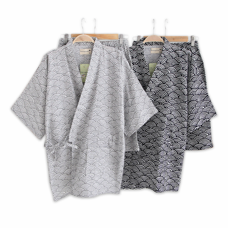 Simple Wave 100% Cotton Short Pyjamas Men Short Sleeves Sleepwear Japanese Kimono Pajamas Sets Shorts Homewear Bathrobe Bedgown