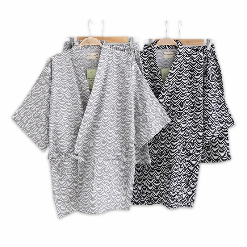 Simple Wave 100% Cotton Shorts Pyjamas Men Short Sleeves Sleepwear Japanese Kimono Pajamas Sets Shorts Home Bathrobes Bedgown