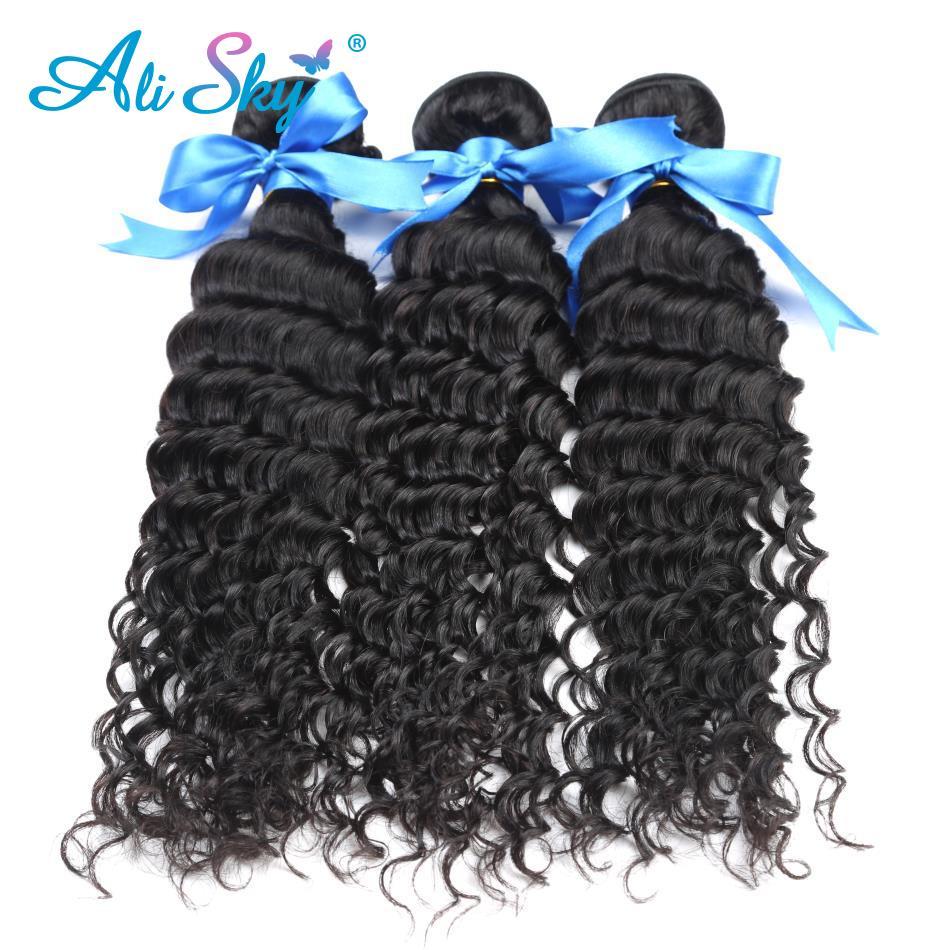 Али небо Малайзии non-реми волосы глубоко вьющиеся волосы 3 Связки Weave 100% человеческих волос никакой путаницы не потеряв бесплатная доставка