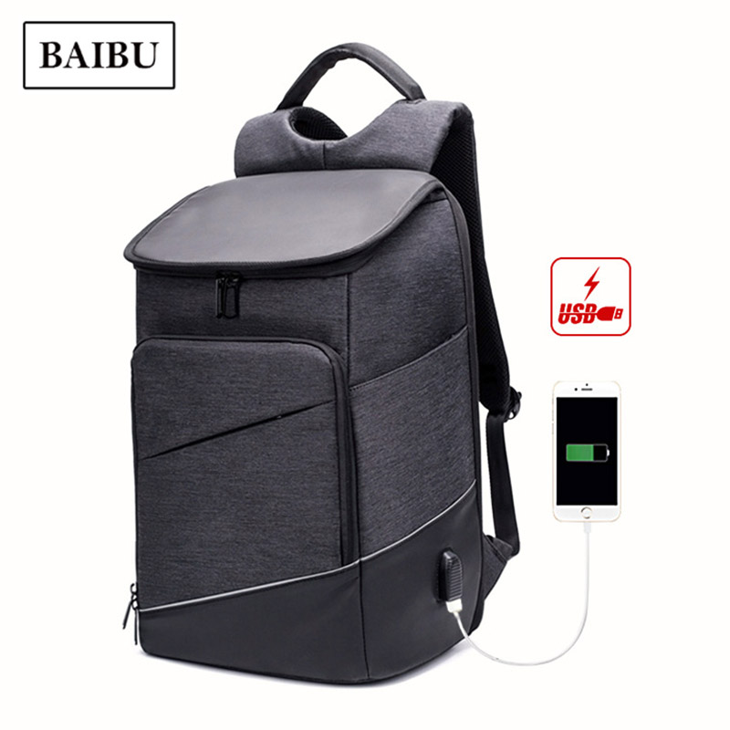BAIBU Men Backpack Waterproof Travel Bag Computer Business Laptop Back Pack Women USB Charging Bagpack Large Capacity School Bag business 15inch laptop backpack men large capacity computer backpackes office women quality waterproof travel bag school bags 45