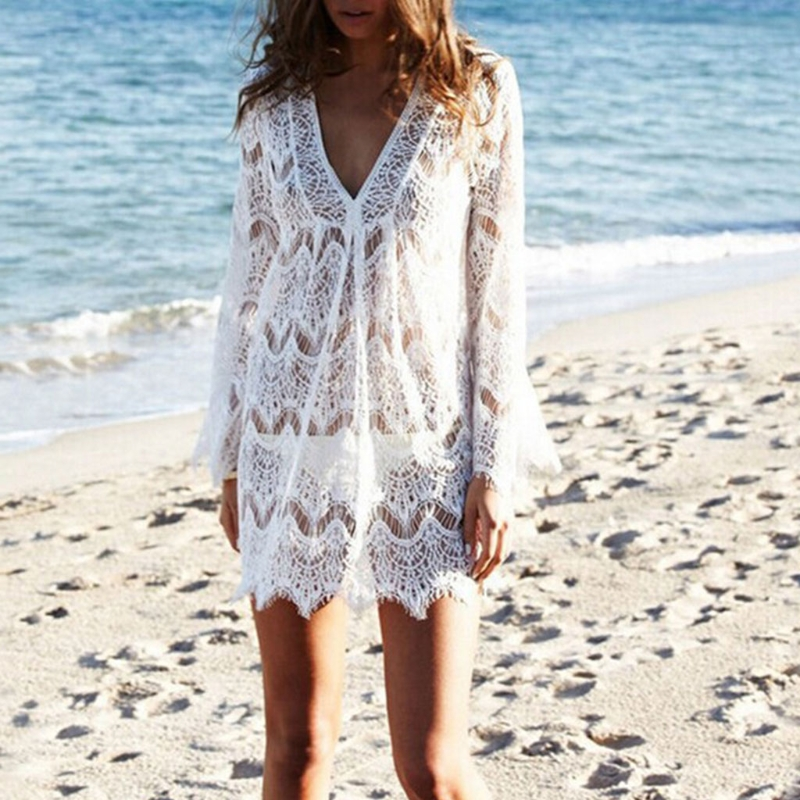 Women V-Neck Hollow Out Swimwear Swimsuit Cover Ups Loose Knitted Beach