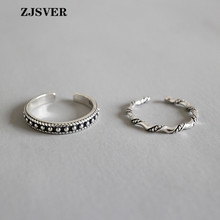 ZJSVER 925 Sterling Silver Rings Classic Wave pattern Beaded surface Ring For Women Festival Or Party Gift Wholesale Jewelry zjsver 925 sterling silver jewelry rings classic simple infinity chain glossy adjustable ring for women girls party or festival