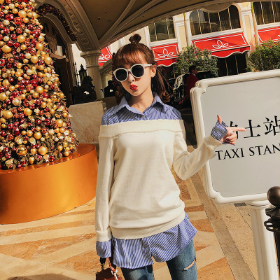 2018 Spring new knitted womens sweater loose blue blouse stitched white sweater loose one size solid little fresh cloth F6244