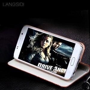 Image 3 - wangcangli genuine leather flip phone case Crocodile back texture For Samsung Galaxy s7 All handmade phone case