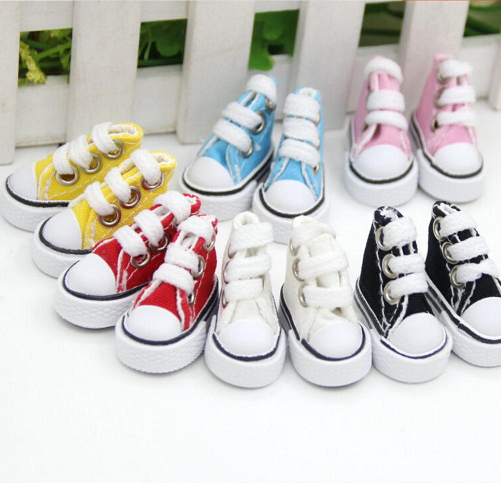 Mini Toy Assorted Shoes Sneaker For  Doll  Doll Shoes For Russian Doll Accessories 5cm 1 Pair Canvas Shoes For   Doll Fashion