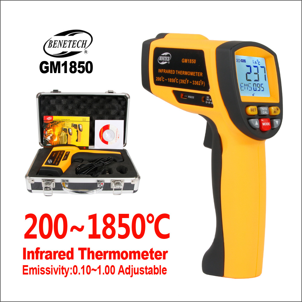 BENETECH Infrared Thermometer Digital laser Temperature Sensor Controller Outdoor Thermometer Hygrometer Industrial GM1850