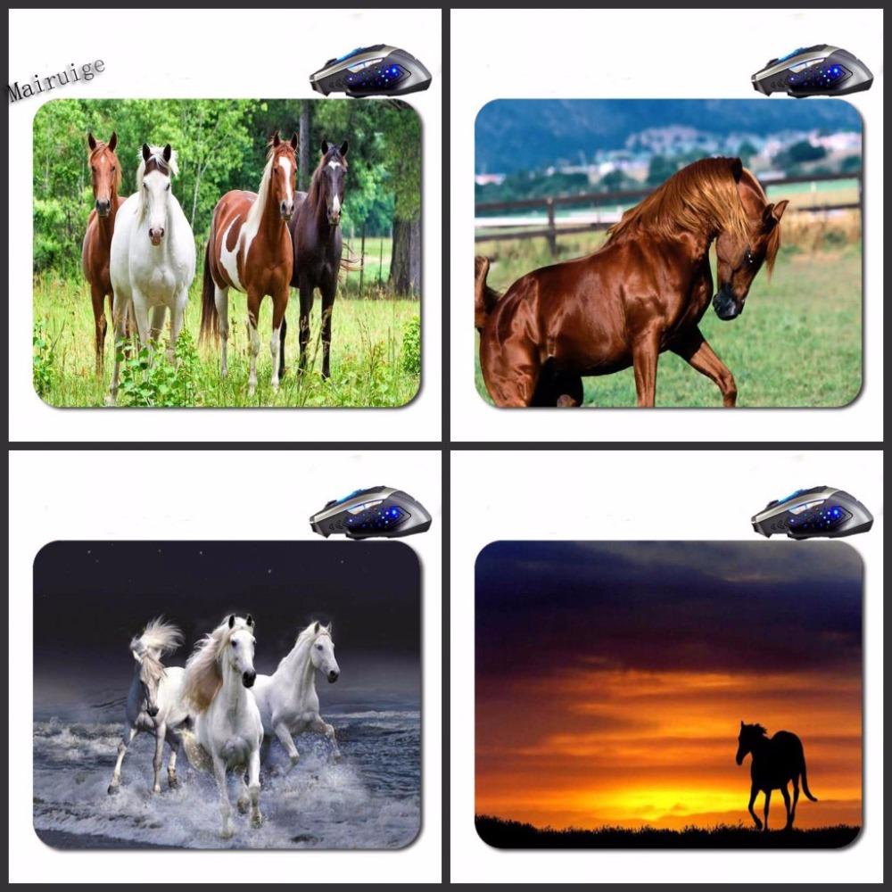 Mairuige Running Horse  Free Shipping  Black Rubber Print Mouse Mat Laptop Computer Gaming Mice Pads For Optical Laster Mats