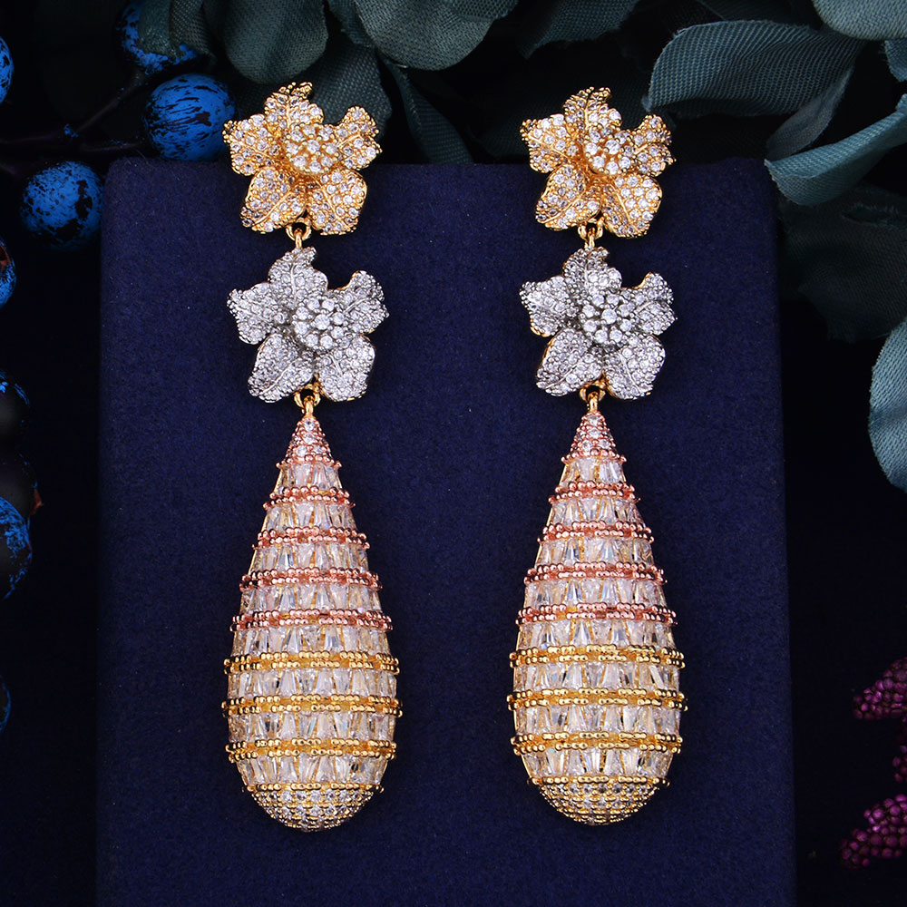 цена GODKI 78mm Luxury Trendy Flower Full Mirco Paved Cubic Zirconia Naija Wedding Drop Earring Fashion Jewelry