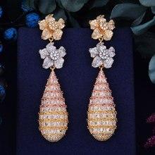 Godki 78mm luxo na moda flor cheia mirco pavimentado zircônia cúbica naija casamento gota brinco moda jóias