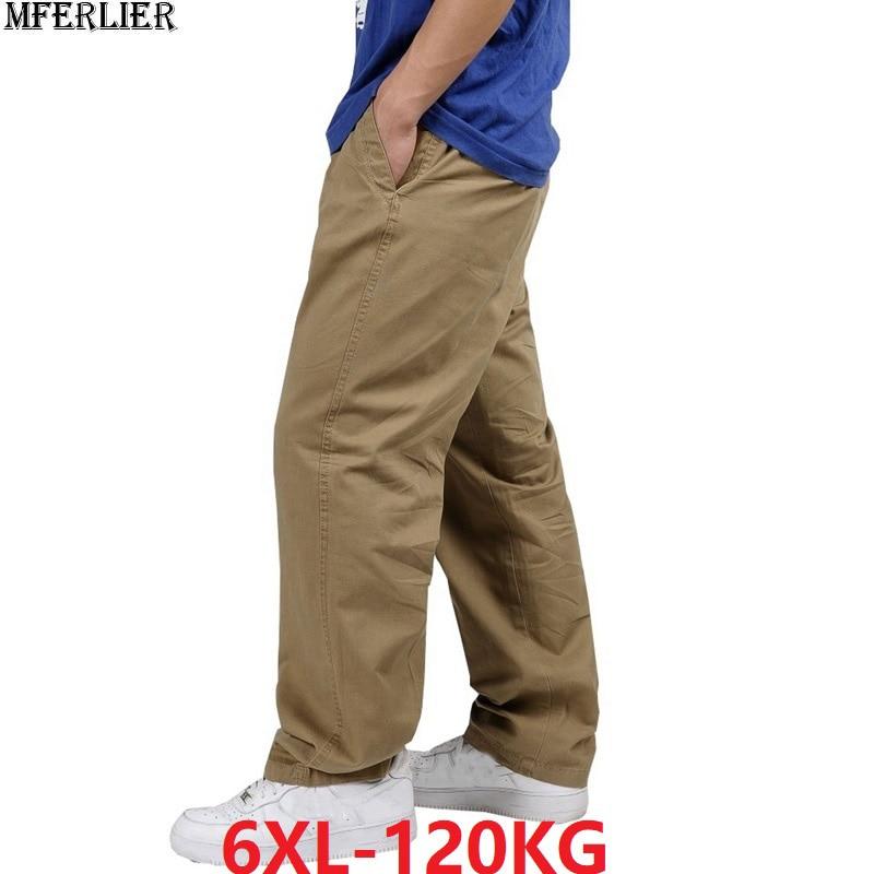 Summer Men Casual Cargo Pants Simple Plus Size Big 4XL 5XL 6XL Cotton Stretch Pants Straight Elasticity Cotton Trousers 120KG 46