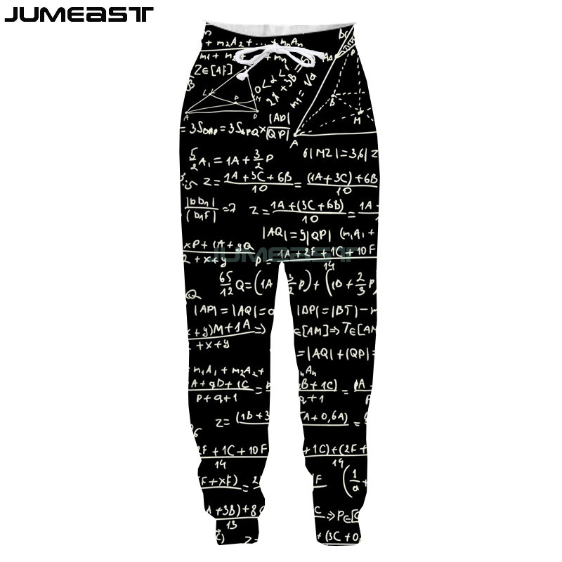 Jumeast New Fashion Math Physics Formula 3D Printed Men/Women Pants Funny Geometric Sport Loose Size Novelty Long Pants
