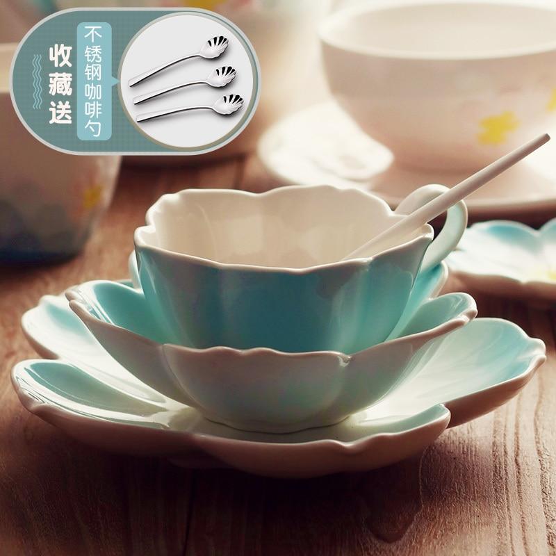Sakura tasse européenne petit luxe en céramique tasse à café plat ensemble thé ensemble anglais fleur thé tasse café tasse plat 3 pièces ensemble
