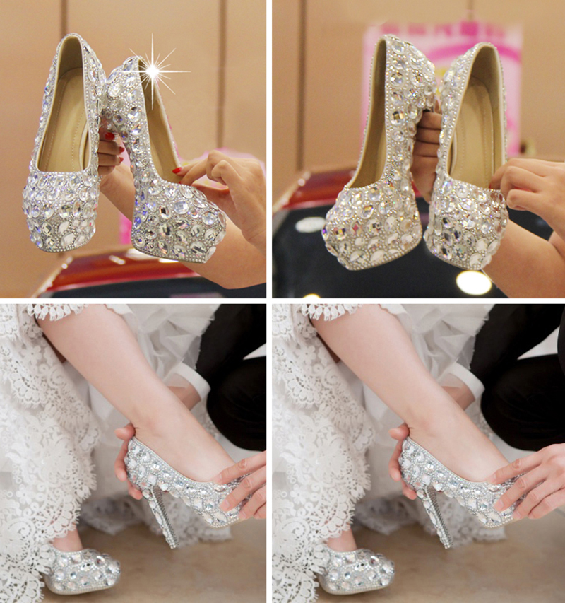 15c32834d5f Crystal Shoes Cinderella Women Heels For Evening Party Glittering Round Toe  Custom Silver Rhinestone Wedding Pumps Size 9-in Women s Pumps from Shoes  on ...