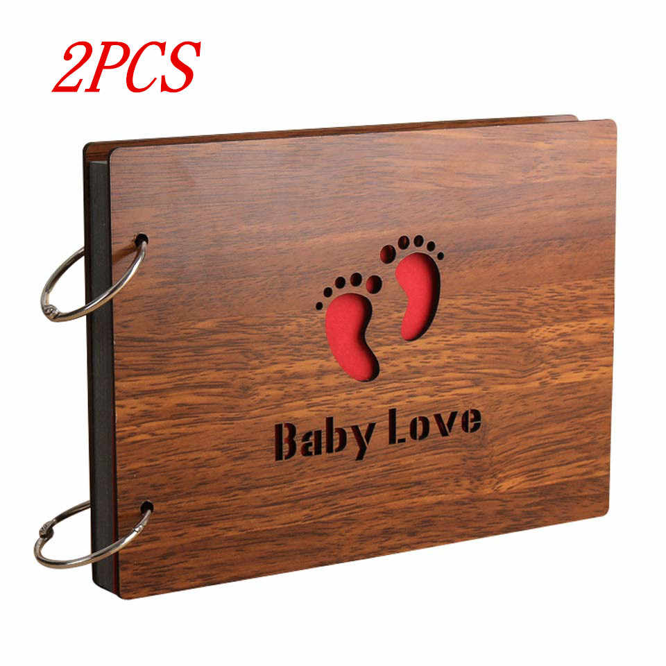 2PCS Wood Creative Handmade Scrapbook Albums 8 Inch Commemorative Baby Photo Album Wedding Photo Album